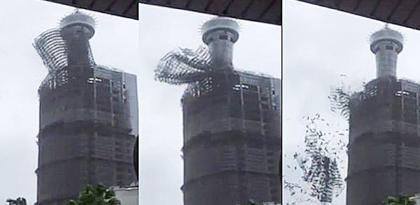 台中前金沙百貨鷹架倒塌