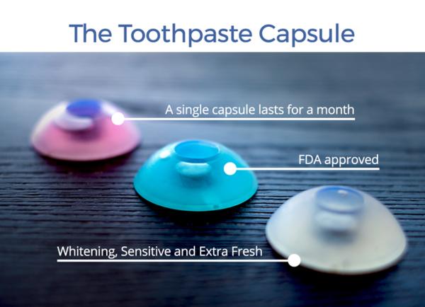 前方的牙膏膠囊容量可使用約一個月